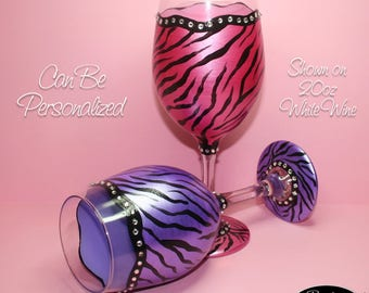 Hand Painted Wine Glass - Zebra Bling Set - Personalized and Custom Wine Glasses for Birthday, Wedding, Party, Special Occasions