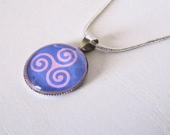 Celtic triskel pendant glass cabochon pink and purple