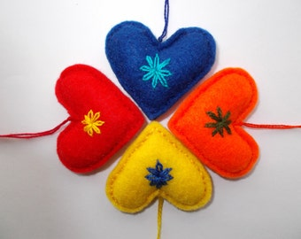 Set of 4 - Felt Heart Ornament,Embroidered Heart,Valentine's Day Gift,Bag Charm,Key Chain,Mini Pincushion,Colorful Love Hearts,Gift for Her