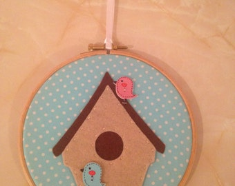 Birdhouse applique embroidery hoop wall art, birdhouse wall art, birdhouse hoop art, applique hoop art, new home gift