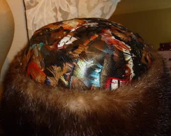 Fabulous Vintage Chanda / New York Hat With Mink And Feathers 1960's