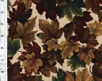 """Cranston/VIP """"Camouflage"""" Hunting Fall Harvest Leaves Fall Brown Fabric"""