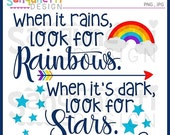 60% OFF When it rains look for rainbows, lettering clipart, rainbow cliaprt, motivational lettering, Instant Download