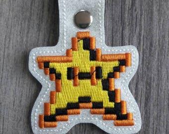 Retro Mario Star Nintendo Gamer 8 Bit Keychain
