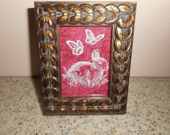 "BUNNY in FRAME EMBROIDERED Rabbit with Butterflies 3 1/2"" x 4 3/4"""
