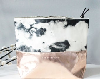 Beauty Bag - ROCKY OCEAN - organic cotton - eco friendly - metallic leather