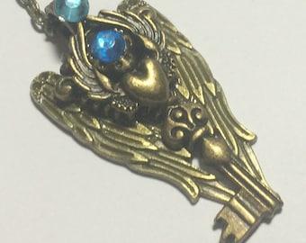 Covered with Angel Wings, skeleton key,skeleton key jewelry,steampunk jewelry,Wing key necklace,fantasy jewelry, fantasy key,