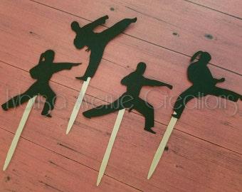 12 Karate Cupcake Toppers - Karate Birthday Cupcake Toppers - Karate Decorations - Karate Party Toppers - Karate