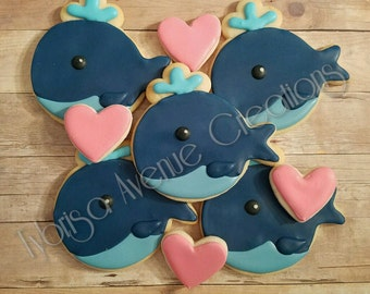 24 Whale and Heart Sugar Cookies - Whale You Be My Valentine Cookies - Whale You Be My Date Cookies - Whale Baby Shower Cookies