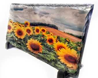 Easter Gift For Girls / Sunflower Photograph On Slate / Mother's Day Gift Sunflower Art / Comes With Feet
