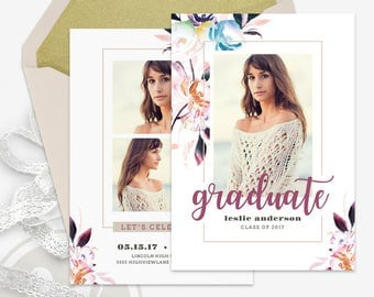 Boho Floral Graduation Announcement Template - Graduation Invitation, Graduation Party Invitation, Instant Download, Open House Invitation