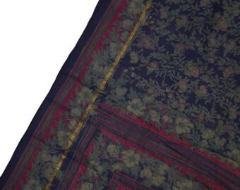 Antique Silk Saree Scarf Vintage Beautiful Silk Sari Stole Women Shawl Hand Printed Silk Sarong Curtain Drape PSS2422