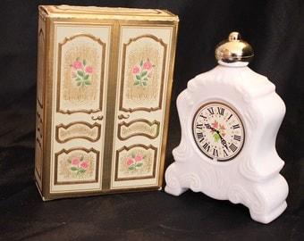 Vintage Avon Milk glass Perfume Bottle Vintage Avon Decanter Collectible Clock Leisure Hours Decanter Avon Bottle. Art Deco