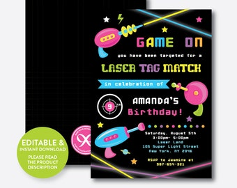 Instand Download, Editable Laser Tag Birthday Invitation, Laser Tag Invitation, Laser Tag Party Invitation, Girl Laser Tag Party (SKB.41)
