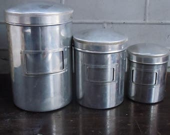 Canister Set / Abercrombie and Fitch  / Supplers to the Outdoorsman / 3 Piece Authentic Aluminum Canisters