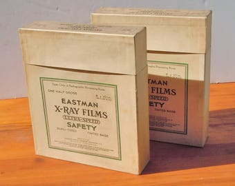 """Eastman X-Ray Films / 2 Photo Film Boxes from the 1940's  / Clean Inside / Holds 8"""" by 10"""" Film"""
