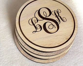 Set of Laser Engraved Wooden Coasters - Monogram