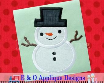 Snowman Applique - Winter Applique Design - Snowman Embroidery Design - Winter Embroidery Design - Snowman Machine Embroidery Design