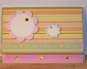 Any Occasion - Bloom Flowers & Stripes Card