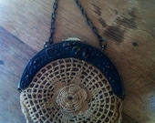 Vintage Antique Crocheted Purse Cherub Floral Detail