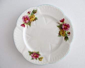 Set of 6, Shelley England Begonia Dainty Shape Fine Bone China Salad plate, Vintage  Tableware