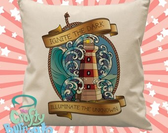 Ignite the dark. Illuminate the unknown - 45cm square cotton cushion cover nautical neo traditional tattoo design