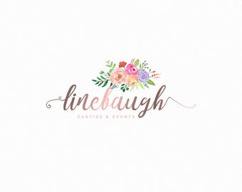 Premade Logo design - Watercolor Logo - custom Logo - Photography Logo - Floral Logo - Flower Logo - metallic Logo - Feminine Logo- luxury