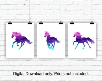 Horse Watercolor Silhouette Prints, Horse Girl Room Decor, Animal Watercolor, Horse Printable Wall Decor, Set of 3, 8x10, INSTANT DOWNLOAD