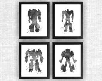 Black Transformers Watercolor Silhouette Prints, Transformers Room Decor, Transformers Prints Set of 4, 8x10, Transformers INSTANT DOWNLOAD