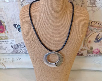 Black faux leather necklace with silver and taupe coloured drop detail