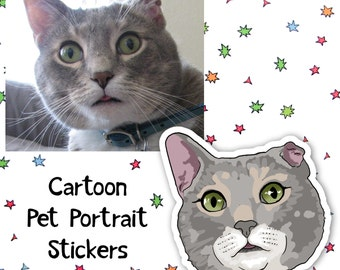 Custom Pet Portrait, Stickers, Keychain & Magnet for Montse