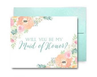 Will You Be My Bridesmaid Card, Bridesmaid Cards, Ask Bridesmaid, Bridesmaid Maid of Honor Gift, Matron of Honor, Flower Girl #CL317