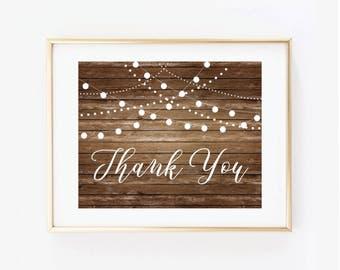Printable Wedding Sign, Thank You Sign, Country Chic, Fall Wedding, Rustic Wedding, Thank You Wedding Sign, Thank You Sign #CL101