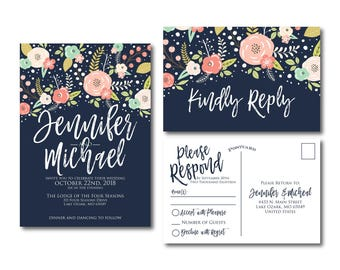 Floral Wedding Invitation Suite, RSVP Postcard, Wedding Invite Suite, RSVP Card, Boho Invitations, 2 Piece Wedding Suite #CL324