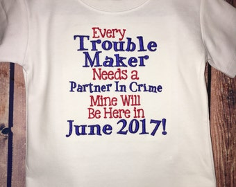 Pregnancy Announcement Shirt or One Piece Bodysuit for Big Brother or Big Sister - Every Trouble Maker Needs a Partner in Crime - Blue & Red