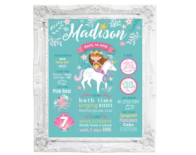 Mermaid Unicorn Milestone Wall Art - Customized 1ST BIRTHDAY Wall Art, 1st Birthday Sign, Mermaid Milestone Sign, Birth Stats