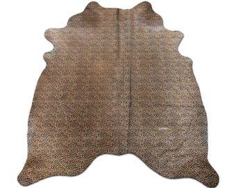 Leopard Print Cowhide Rug Size: 6.5' X 5.4' ft  Leopard Print Cowhide Skin Rug j-123