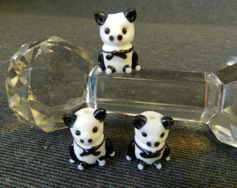 Set of 3 Black and White Sitting Pig Lampwork Glass Bead - 20mm - Handmade - Farm Animals