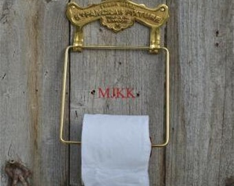 An antique style solid brass St. PANCRAS FIXTURE toilet roll holder SBP