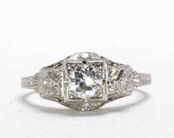 Art Deco Engagement Ring | Platinum | Old European Cut Diamonds | Size 6.25 | Item 85917
