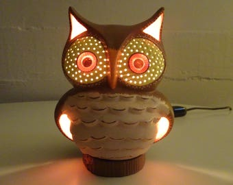 Vintage Ceramic Owl Night Light Lamp - FREE SHIPPING