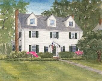 "9x12"", custom house portrait, custom painting, watercolor house painting, hand painted, new home art, custom gift, housewarming gift"