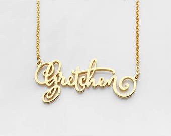 Custom Name Necklace • Calligraphy Name Necklace • Gold Name Jewelry • Name Necklace in Sterling Silver Jewelry • Birthday Gift CNN04