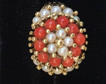 Vintage, Pearl Carnelian, cluster ring and necklace set, ring size 7.75, 18k yellow gold,