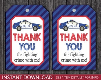 Police Birthday Favor Tags • Police Thank You Party Favor Tags • Printable Digital File • INSTANT DOWNLOAD