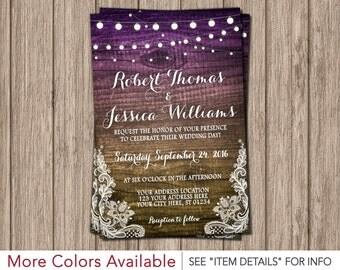 Rustic Wedding Invitation - Wood, Lights, Lace, Purple, Digital File, Printable