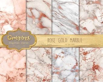Rose Gold Marble Digital Paper, pink and gold marble, pink marble textures, white marble digital ...