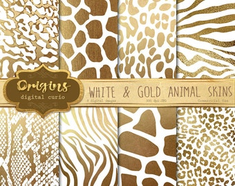 White and Gold Animal Skins digital paper, African animal print, giraffe skin, zebra, leopard, tiger, jungle safari gold foil backgrounds