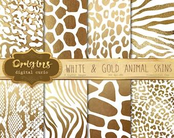 White and Gold Animal Skins digital paper, African animal print, giraffe skin, zebra, leopard, ...