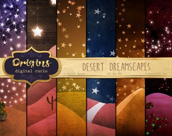 Desert Dreamscapes digital paper backgrounds, fantasy night sky scrapbook paper, landscapes, starry night sky paper, moon and stars, western